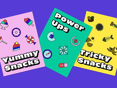 Crumbskees - Gameplay set cartoon pop fun design illustration vector icon typography branding game design game poster icons