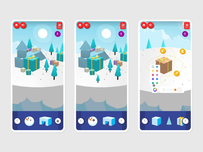 Snowbox - mobile mountain christmas design experience customizable mobile ui fun joyful website web interface webgl game phone interactive interaction ux uiux ui mobile