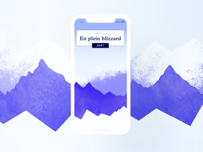 Intro screen interface ios snow graphic dailyui blue app ui mountains mountain iphone