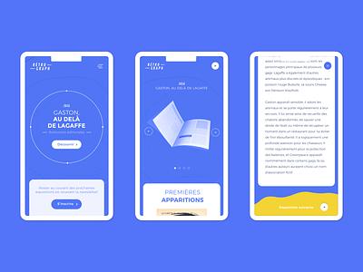 Retrograph – Mobile color block fluid mobile app design experience exhibition article ux blue ui mobile