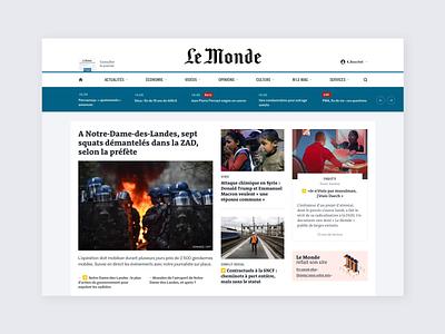 Le Monde – Dark mode homepage white black ui ux newspaper reading transition mode day website night dark