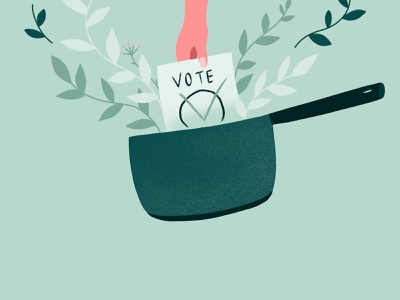 We vote through our consumption bio ecology casserole pink textured grainy plant green illustration vote