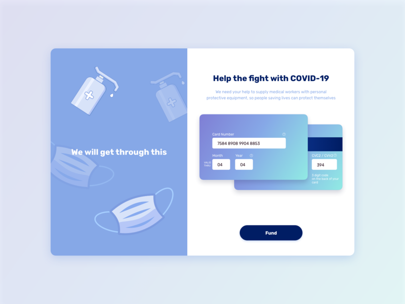 Stop COVID covid-19 card website design payment method payment