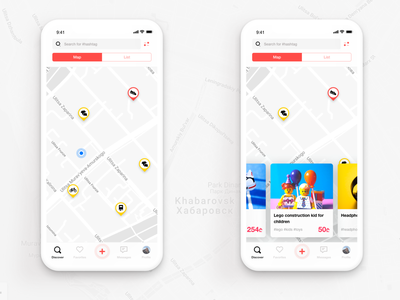 Location based shopping app map pin ecommerce app listing shopping shopping app map location cards ui mobile app