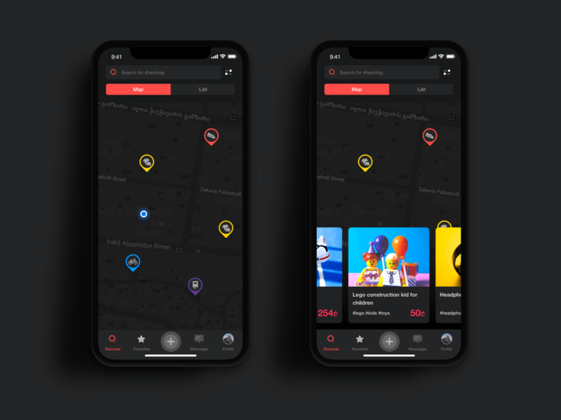 Location Based Shopping App  | Dark Mode  🌘 night mode dark mode shopping app shopping mobile app map pin map location listing ecommerce app cards ui