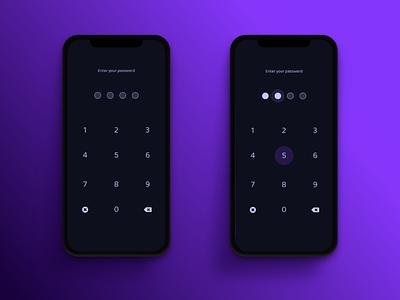 Passcode - Dark Mode security password purple dark mode iphone x passcode iphone