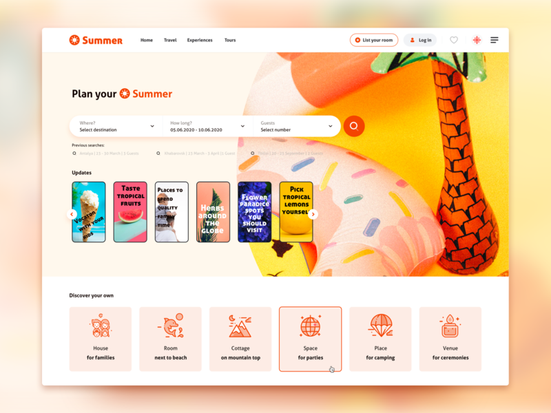 Plan Your Summer - Landing Page landing design web design ui booking rent search stories summer travel website landing page