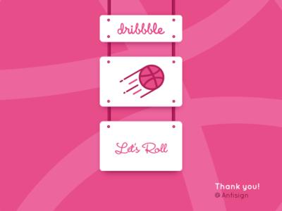 Let's Roll debut dribbble hello pink sketch vector art