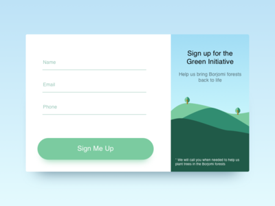 Signup for Borjomi Forest Renewal dailyui green borjomi forest modal popup sign up