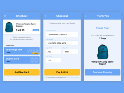 Credit Card Checkout payment method dailyui mobile shopping ecommerce checkout credit card