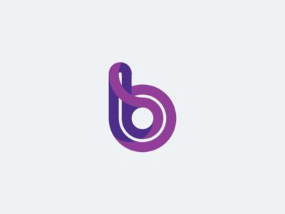 B logotype logo design curves purple violet b letter branding logo logotype