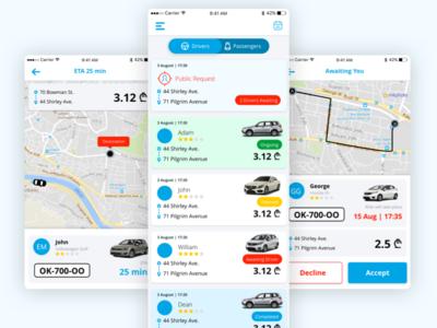 Car Pooling App map ui transport travel driver drive car car sharing car pooling