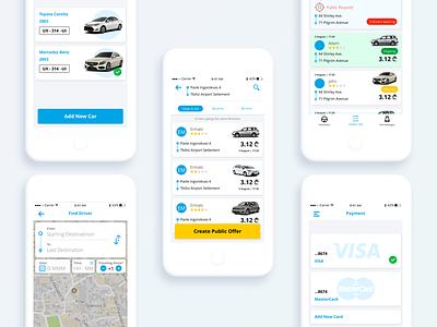 Car Pooling App mobile ios order ux ui travel transport map ride driver car pooling car