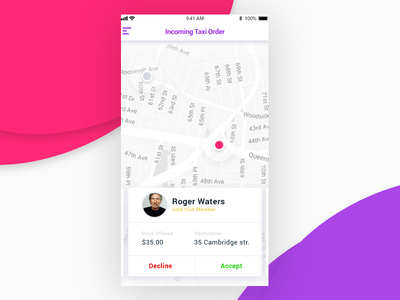 Incoming Taxi Order UI incoming order light ride car passenger driver ui taxi