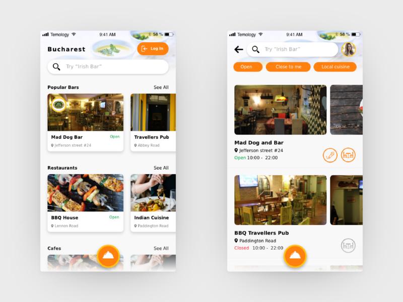 Table Booking App orrange landing feed cards fab food app order food pub bar cafe restaurant booking app booking