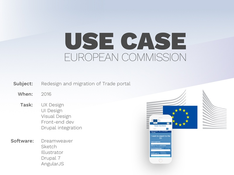 Use case for the European Commission drupal optimization front-end development design visual design ux ui