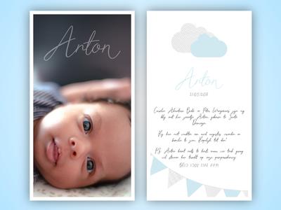 Birth announcement card Anton