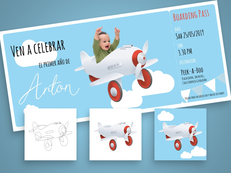 Birthday card with airplanes boarding pass visual design illustration photography graphic design typography toys vintage card birthday card airplane affinity designer
