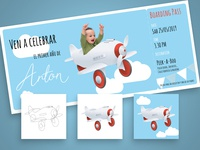 Birthday card with airplanes