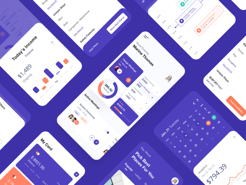 Mobile App Dashboard profile credit card filter product design tool purple graphs analytics app calendar ui user experience user inteface landingpage product design typography dashboard enterprise white design clean ui ux ui
