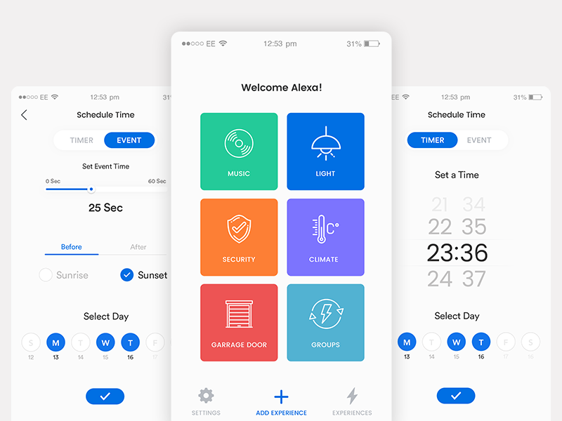 Smart Home App Timer psd design white ui clean date timer ai smart home design illustration ux ui