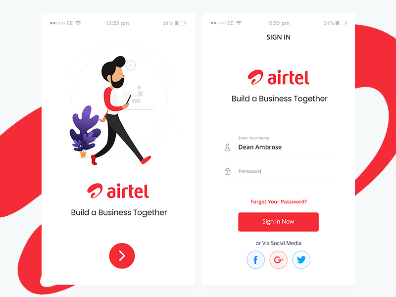 Airtel Login UI by Pixians on Dribbble