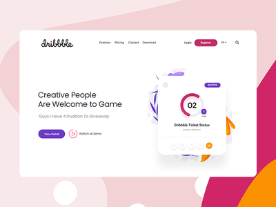 Dribbble Invite website header design clean ui invite design uxdesign white invite giveaway uiux dailyui shot dribbble invites invitation invite