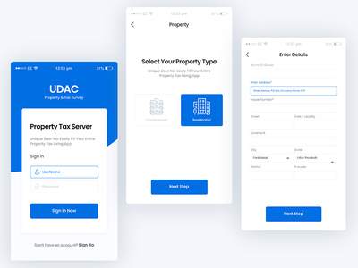 Mobile UI forms select form procreate login signup register property blue form business enterprise white design clean ui ux ui