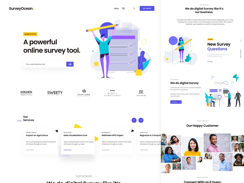 Survey App Landing purple survey website survey page survey website landing page illustration creative business enterprise white design clean ui ux ui