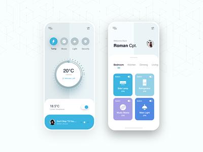 Smart Home Light smartphone app design interface interior light app app ui music temperature light technology mobile ui ios iot smart home app smarthome clean ui ux ui