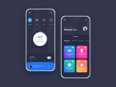 Smart Home DARK card view card ui music bulb temprature light dark theme night mode dark app ui ios smarthome design clean ui ux ui