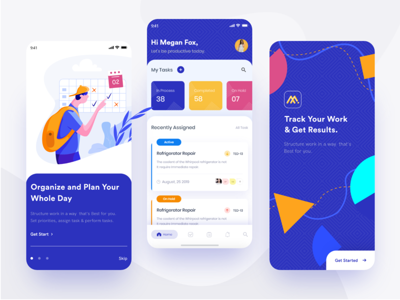 work order mobile uiux dashboard walkthrough splash management work order work app blue ios app mobile ui illustration creative business enterprise white design clean ui ux ui