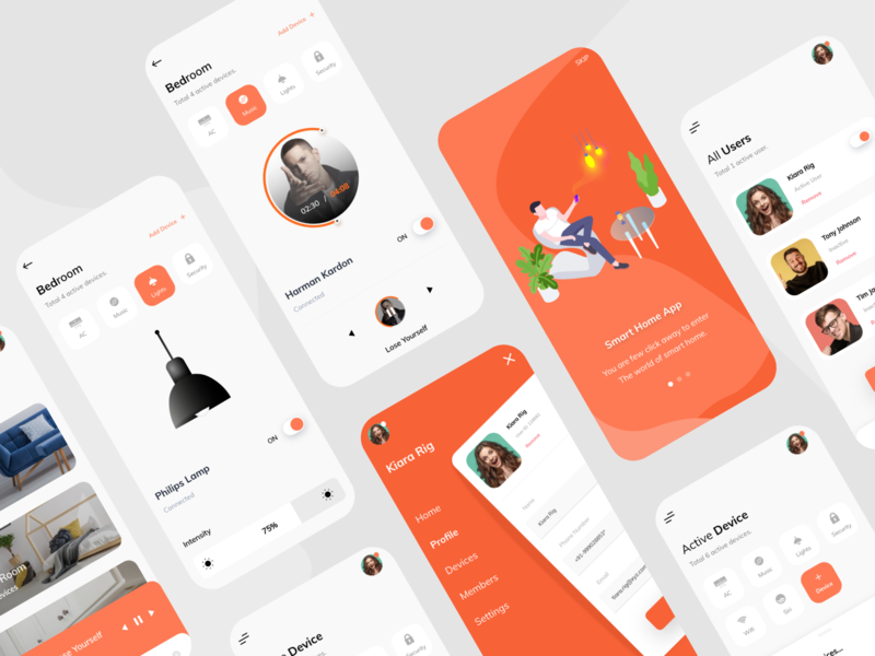 SmartHome UI setup profile smart home orange mobile app ios iot setting light music smarthome enterprise white design clean ui ux ui