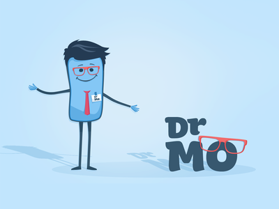 Dr Mo expert cute fancy funny blue mascot