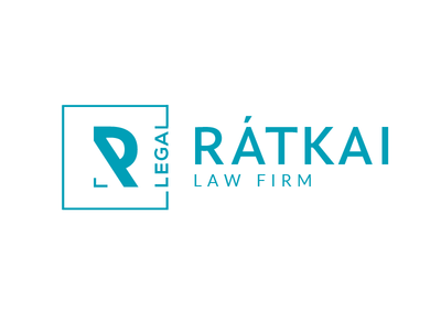 Rátkai Law Firm logo cool colors clean lawyer square teal