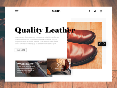 SHUZ. designer blog landing page web design website