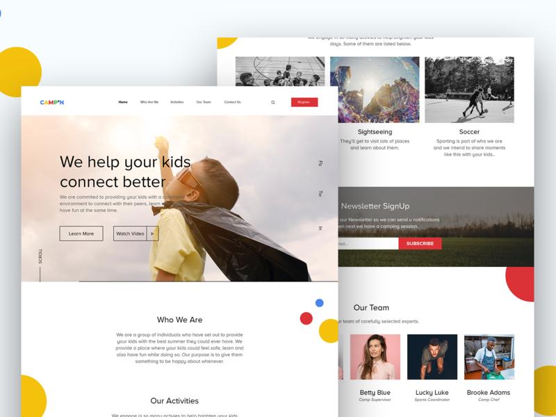 CAMP'N website minimalism minimal landing page design inspiration interface freelance designer uiux clean daily design photography adobe illustrator web design graphic design