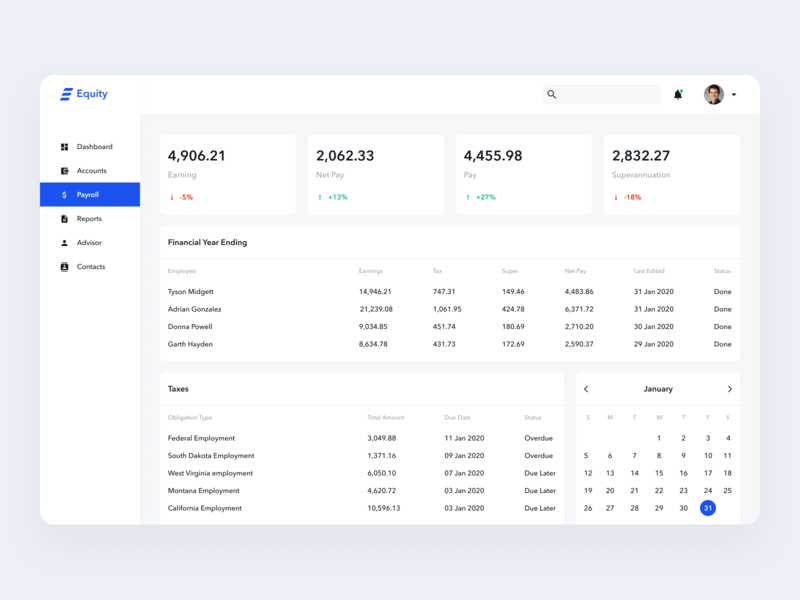 Equity - A Online Accounting Software Design | Payroll Screen minimal clean account statistics ux ui design uidesign uiux stats data chart app dashboard app dashboard ui web design temple ui dashboad design