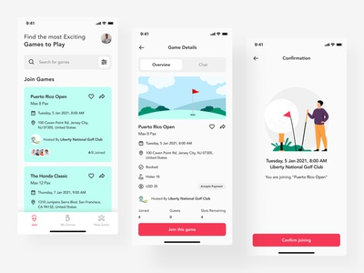 Golf Booking App app design flat mobile design mobile trends mobile app mobileui trending uidesign uiinspirations uitrends uiuxdesign mobile ui apps design app design apps minimal clean ux ui