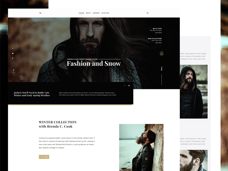 Fashion Ware Website Landing Page UI Design retail shop personal traine news blog hosting minimal portfolio graphic designer fashion magazine ecommerce creative business agency