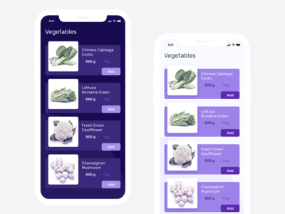 Grocery App List Screen Design Concept
