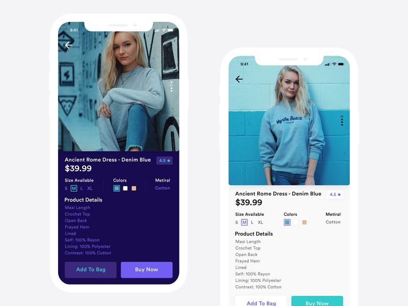 E-commerce App Design Concept ios app ux ui store photo material interface fashion flat e-commerce background