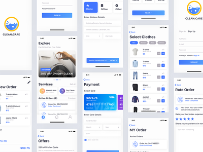 Clean&Care - A Laundry App Design trend sign up sign in minimal motion design dailyui app ios iphone apps clean apps design iphone apps ux ui