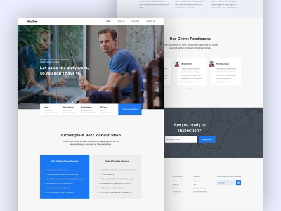 Clean Service Landing Page Design maid house cleaning floor cleaning cleaning service cleaning company cleaning business cleaning agency cleaning cleanaa agency webdesigner clean service website clean website design web website landing page minimal clean ux ui