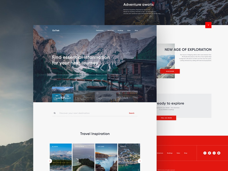 Travel Landing Page Design red layout website concept web uidesign travel landing page travel website website design landing page design landingpage typography travel website minimal clean ux ui