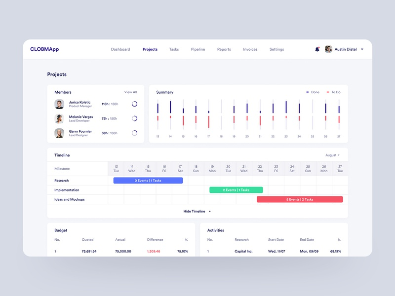 Cloud-Based Business Management WebApp Design - Projects Screen