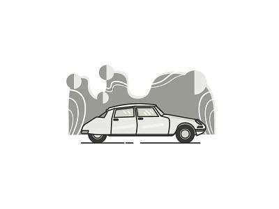 Citroen Ds citroen line illustration gray car minimal
