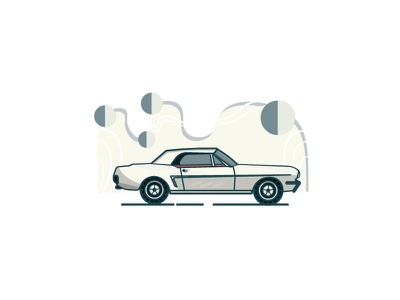 Ford Mustang 1964 minimal line illustration car ford