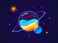 Coloured planet drop water universe meteor space circular change gradual colour illustrations