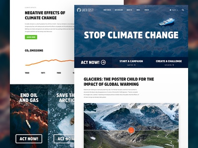 Earth First!  sustainability ngo juxtapose art direction ux ui